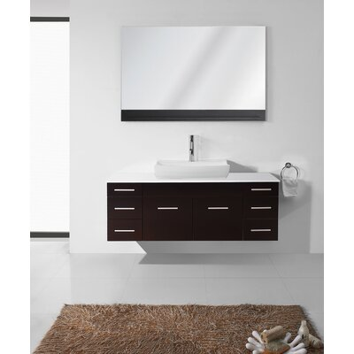 Rutan 56 Single Bathroom Vanity Set with Tempered Glass Top and Mirror Base Finish: Espresso, Faucet Finish: Polished Chrome