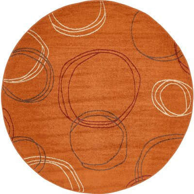 Lilla Terracotta Area Rug Rug Size: Round 8