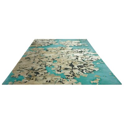 Annan Handmade Aqua/Tan Area Rug Rug Size: Rectangle 79 x 99
