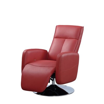 Lucama Leather Handle Manual Recliner Upholstery: Red