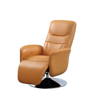 Macon Leather Handle Manual Recliner Upholstery: Cognac