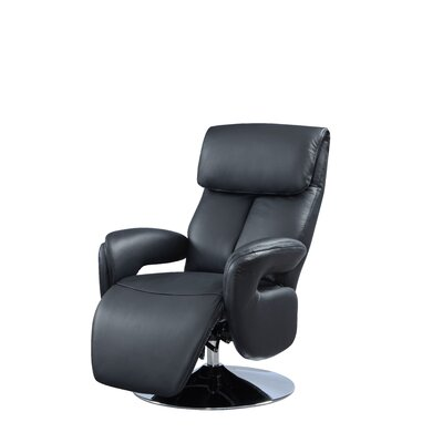 Manteo Leather Recliner Upholstery: Black, Reclining Type: Manual