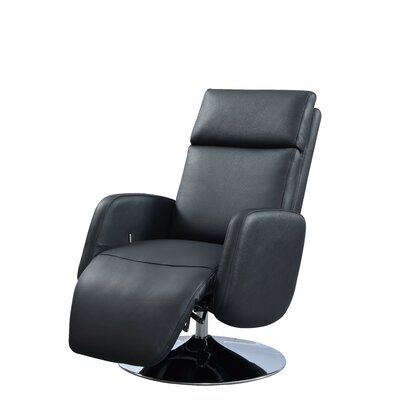 Maysville Leather Handle Manual Recliner Upholstery: Black