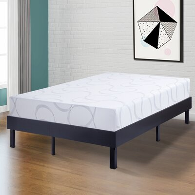 Wilfong Wood Platform Steel Bed Frame Size: Full, Color: Black