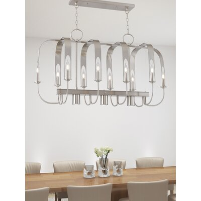 Lawrence Linear 10-Light Kitchen Island Pendant Finish: Brushed Nickel