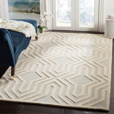 Arthur Hand-Tufted Gray / Ivory Area Rug Rug Size: Rectangle 5 x 8