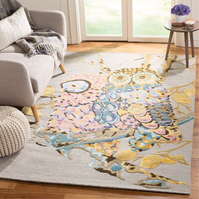 Reiber Hand-Tufted Gray Area Rug Rug Size: Rectangle 5 x 8