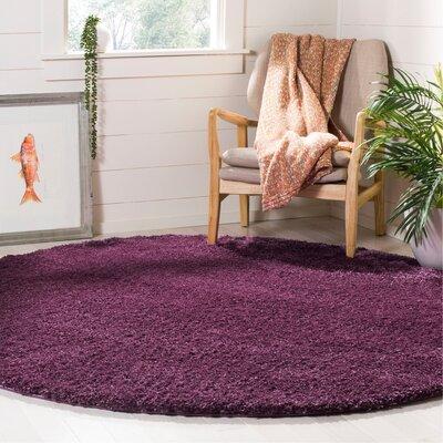 Schmitt Purple Area Rug Rug Size: Round 67