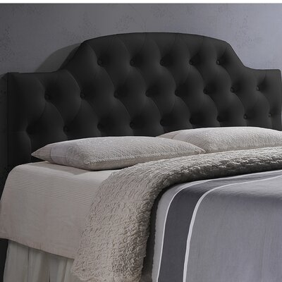 Colegrove Scalloped Upholstered Panel Headboard Size: Full, Upholstery: Black