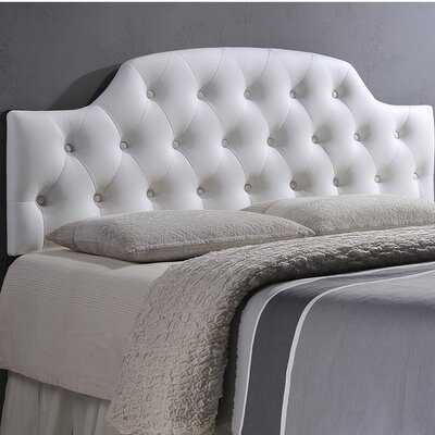 Colegrove Scalloped Upholstered Panel Headboard Size: Full, Upholstery: White