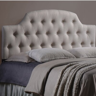 Colegrove Scalloped Upholstered Panel Headboard Size: Full, Upholstery: Light Beige