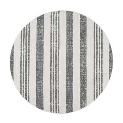 Hayley Gray/Ivory Area Rug Rug Size: Round 5 3