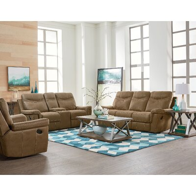 Garretson Manual Console Reclining Sofa Upholstery: Brown