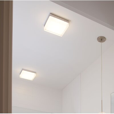 Humiston 1-Light Flush Mount Finish: Satin Nickel, Size: 2.2 H x 5.3 W x 5.3 D, Bulb Type: 1x10W 277V 3000K LED