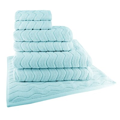Cotton 7 Piece Towel Set Color: Steel Blue