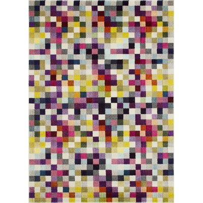 Glenmore Pixel Inspired Yellow/Purple Area Rug Rug Size: Rectangle 5 x 7
