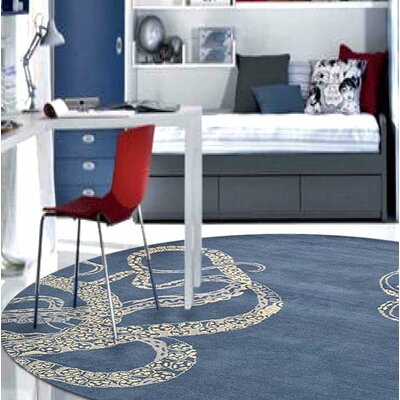 Ash Hill Contemporary Hand-Woven Wool Blue/Beige Area Rug Rug Size: Round 10
