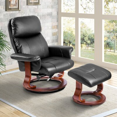 Wieland Manual Swivel Recliner with Ottoman Color: Black
