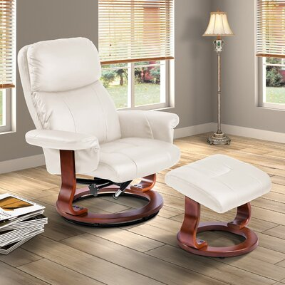 Wieland Manual Swivel Recliner with Ottoman Color: Beige