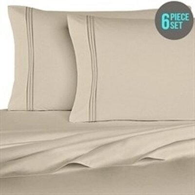 Rycerska 800 Thread Count Super Soft Sheet Set Size: Full, Color: Khaki