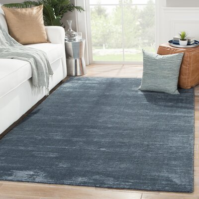 Nico Wool and Art Silk Solids/Handloom Moonlight Blue Area Rug Rug Size: 8 x 10