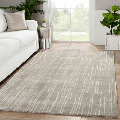 Josephine Hand-Tufted Gray/Ivory Area Rug Rug Size: Rectangle 8 x 10