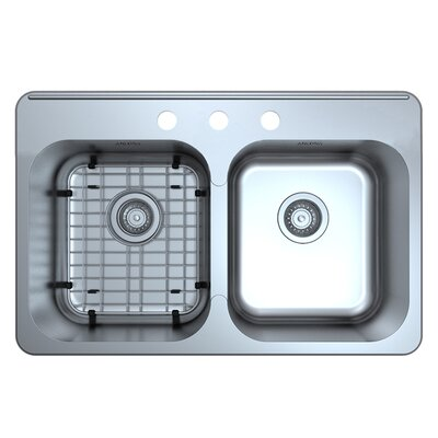 Capri Double Bowl 31.6 x 20.5 Drop-In Kitchen Sink