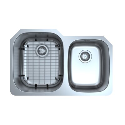 Capri Series Stainless Steel 31.75 x 20.6 60/40 Double Bowl Undermount Kitchen Sink with Grid and Strainers
