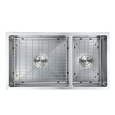 Prestige Series Stainless Steel 32 x 18 70/30 Double Bowl Undermount Kitchen Sink with Grids and Strainers