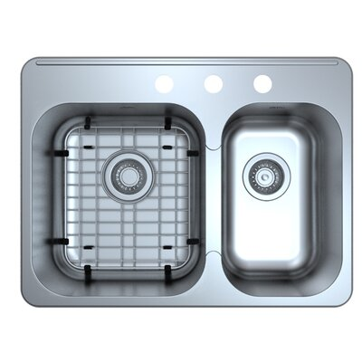 Capri Drop-In 27.1 x 20.4 Double Bowl Kitchen Sink with Grid and Strainer