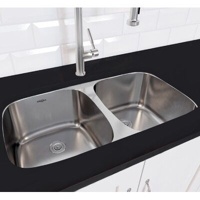 Capri Series Stainless Steel 32.3 x 32.23 Double Bowl Undermount Kitchen Sink with Grid and Strainers