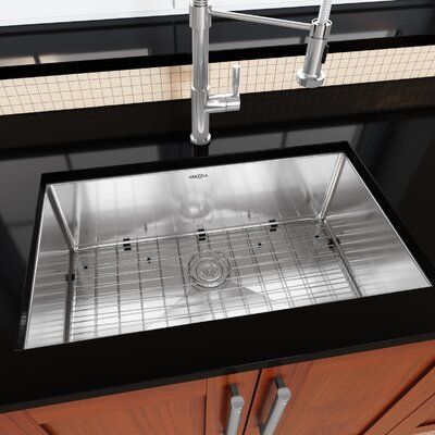 Prestige Series Stainless Steel 30 x 18 Undermount Kitchen Sink with Grid and Strainer