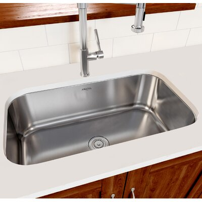 Capri Series Stainless Steel 31.5 x 18.3 Single Bowl Undermount Kitchen Sink with Strainer