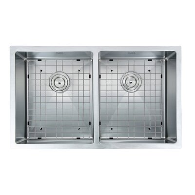 Prestige Series Stainless Steel 32 x 19 50/50 Double Bowl Undermount Kitchen Sink with Grids and Strainers