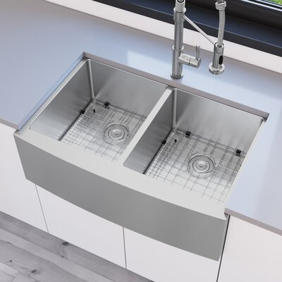 Prestige Series Stainless Steel 33 x 21 50/50 Double Bowl Farmhouse Apron Handmade Kitchen Sink with Grid and Strainer