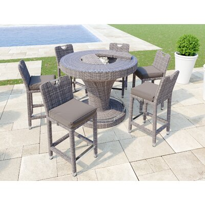 Bellariva Aluminum Rattan 7 Piece Bar Set with Cushions