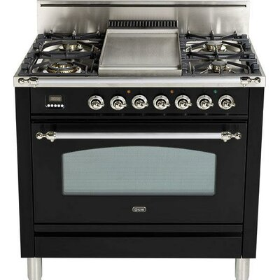"Nostalgie 36"" Free-standing Gas Range Finish: Gloss Black, Gas Type: Natural Gas UPN90FDVGGNX"