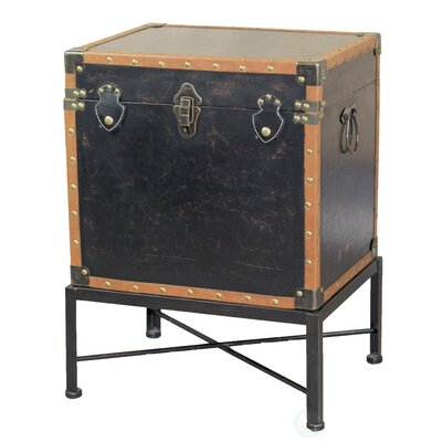 Katherin Faux Leather Trimmed Square Storage Trunk End Table