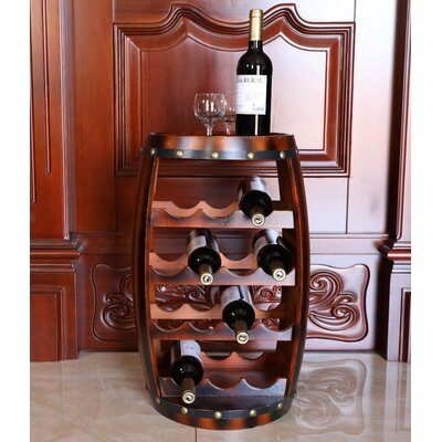 Loretta Wooden Barrel Shaped 14 Floor Wine Bottle Rack