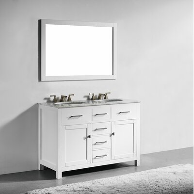 San Clemente 48 Double Bathroom Vanity with Mirror Base Finish: White