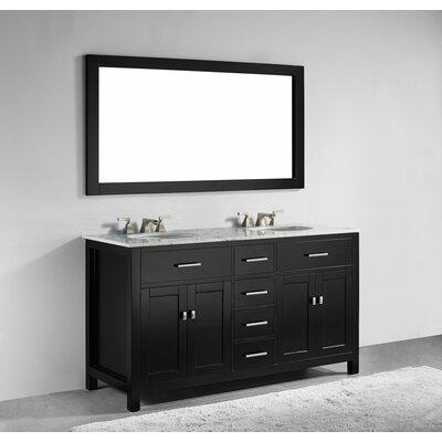 Sverre 60 Double Bathroom Vanity with Mirror Base Finish: Espresso
