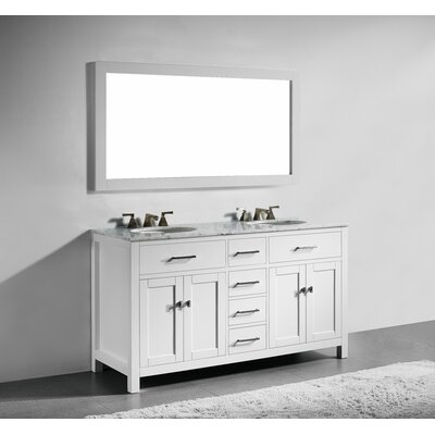Sverre 60 Double Bathroom Vanity with Mirror Base Finish: White