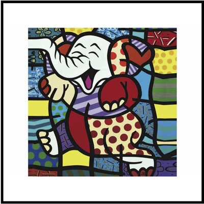 Happy Elephant Framed Graphic Art