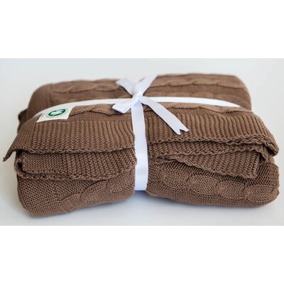 Certified Organic Cotton Cable Knit Throw Color: Chocolate