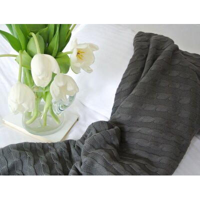 Certified Organic Cotton Cable Knit Throw Color: Dark Gray