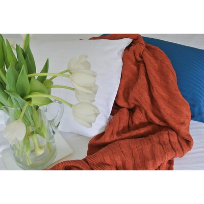 Certified Organic Cotton Cable Knit Throw Color: Bordeaux