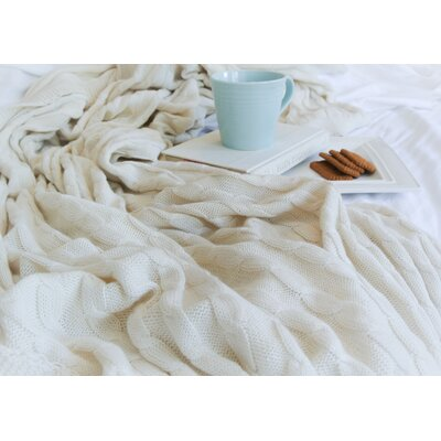 Certified Organic Cotton Cable Knit Throw Color: White