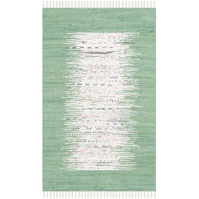 Milia Hand-Woven Ivory/Sea Green Area Rug Rug Size: Rectangle 3 x 5