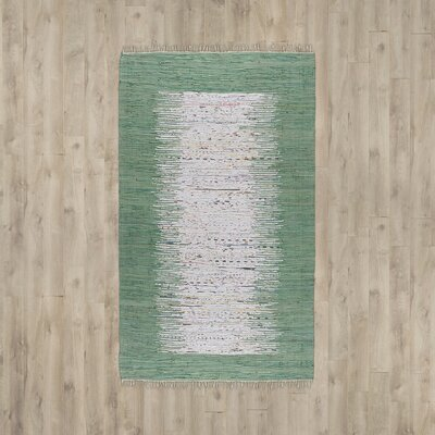 Milia Hand-Woven Ivory/Sea Green Area Rug Rug Size: Rectangle 26 x 4