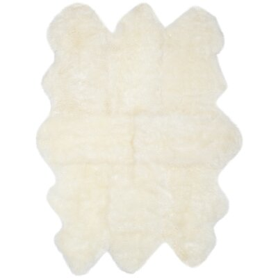 Allison Hand-Woven Faux Sheepskin White Area Rug Rug Size: Sheepskin 5 x 8